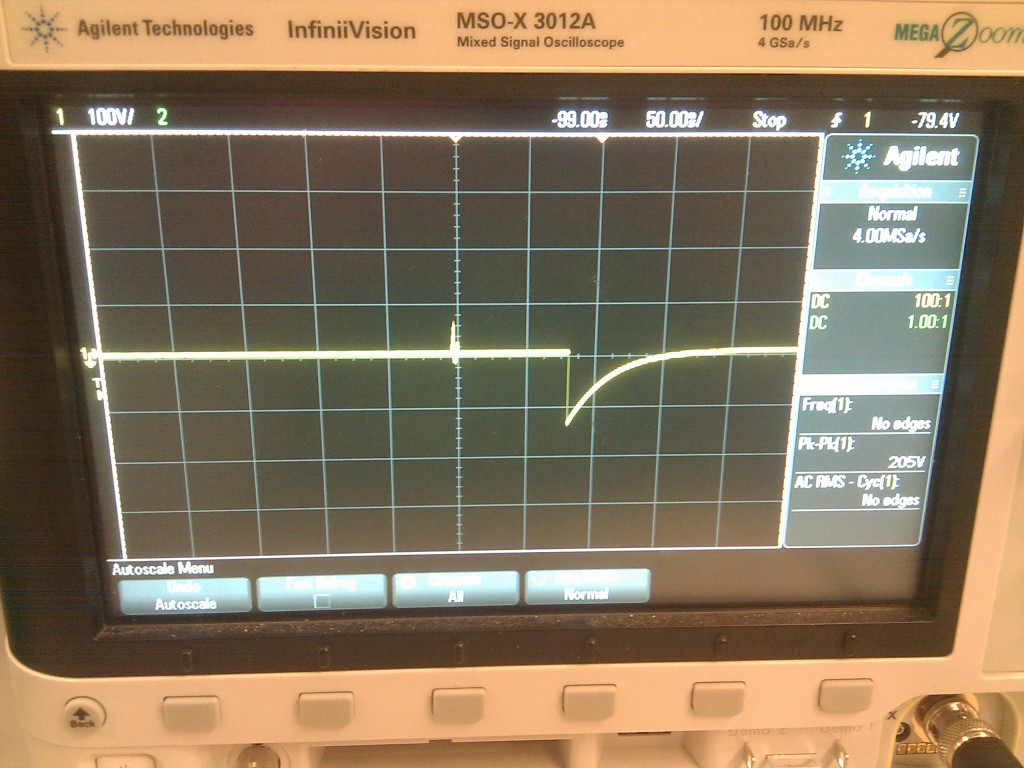 Oscilloscope screen showing high-voltage transients measured on channel 0 during DropBot initialization. Each vertical line represents 100V.